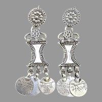 Vintage Afghan Tribal Silver Ethnic Drop Earrings