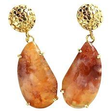 Rich Orange Carnelian Agate Drop Earrings