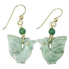 Carved Green Jade Rooster Drop Earrings
