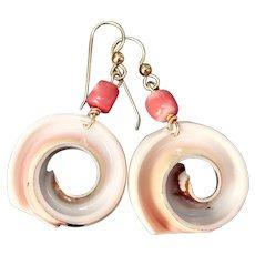 Indonesian Conus Shell, Coral, Drop Earrings
