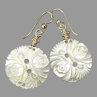 Victorian White Mother of Pearl Flower Drop Earrings