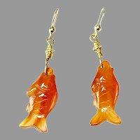 Carved Orange Carnelian Agate Fish Drop Earrings