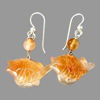 Carved Carnelian Agate Fish Drop Earrings