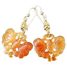 Carnelian Agate Butterflies Drop Earrings