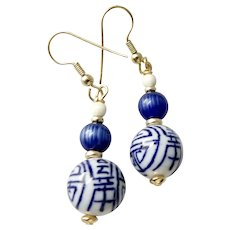 Chinese Blue and White Porcelain Drop Earrings