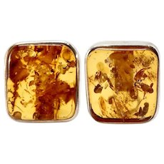 Exquisite Vintage Clear Baltic Amber Button Post Earrings