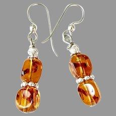 Clear Golden Amber Glass, Sterling Silver Drop Earrings