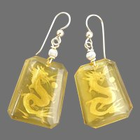 Etched Amber Glass Dragon Drop Earrings