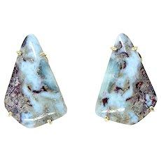 Beautiful Amazonite Button French Clip Earrings