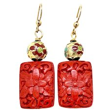 Carved Red Chinese Cinnabar Flowers, Chinese Cloisonne Drop Earrings