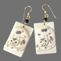 Carved and Etched Bone Calico Cat Drop Earrings