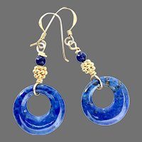 Blue Lapis Lazuli Disk Drop Earrings 18k Gold Vermeil