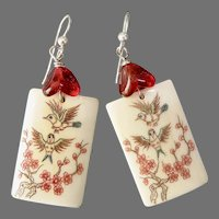 Etched Bone Birds and Plum Blossoms Drop Earrings