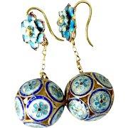 Vintage Chinese Blue Enameled Cloisonne Drop Earrings