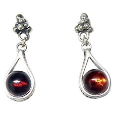 Vintage Baltic Amber and Silver Drop Earrings.