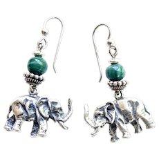 Solid Silver Thai Elephant Drop Earrings