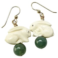 Carved Bone Rabbits, Green Jasper Drop Earrings