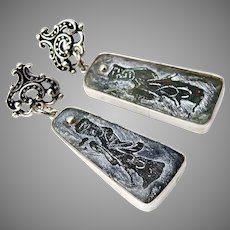 Hand Etched Jade Lucky Gods Drop Earrings