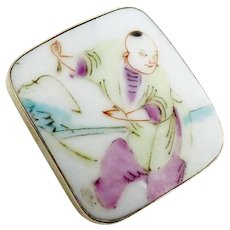 Qing Dynasty Porcelain Shard Pin and Pendant