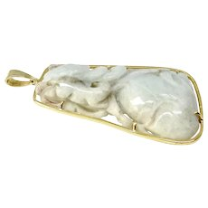 Carved White Jade Dragon and Peach Pendant