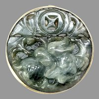 Hand Carved Natural Green Jade Dragon Pin and Pendant
