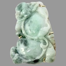 Carved Green Chinese Jade Pin