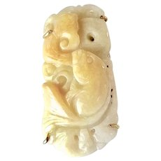 Carved Golden Jade Fish Pin and Pendant