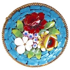 Vintage Italian Glass Mosaic Pin