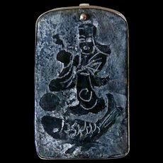 Etched Jade Lucky God and Fish Pin and Pendant