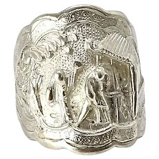Vintage Chinese Silver Repousse Opera Ring
