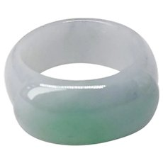 Vintage Natural Green Jade Saddle Ring