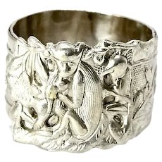 Antique Chinese Silver Repousse Adjustable Ring
