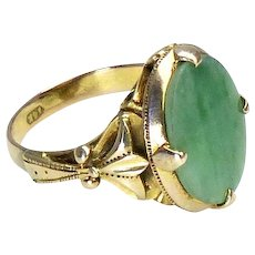 Vintage Chinese Art Nouveau Green Jade Ring