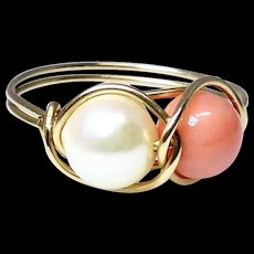 Luminous White Pearl and Coral, 14k Gold Ring