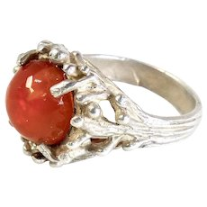 Vintage Orange Opal and Silver Ring