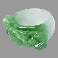 Vintage Large Carved Enhanced Green Jade Saddle Dragon Ring
