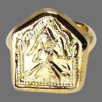 Vintage Indian Amulet Mother Goddess Gold Electroplate Ring