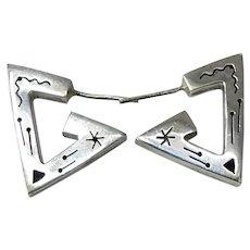 Vintage Geometric Triangular Silver Hoop Post Earrings