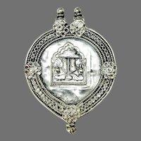 Antique Indian Silver Amulet Pendant, Vishnu's Footprints