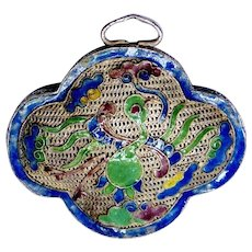 Antique 19th Century Chinese Enameled Silver Pendant