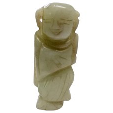 Antique Nephrite White Jade Chinese Man Collectible Figurine