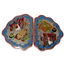 Antique Asian Cloisonne Duck and Chrystanthemum Buckle