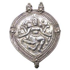 Antique Rajasthan Indian Silver Kali Pendant