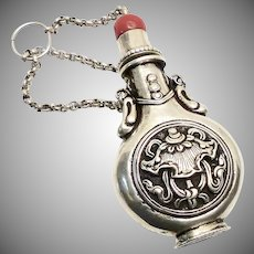 Antique Nepalese Silver Snuff Bottle with Coral Top