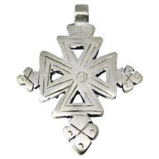 Vintage Ethiopian Silver Coptic Cross Pendant