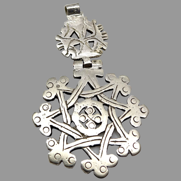 Antique very good silver Ethiopian cross with a hinge