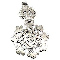 Vintage Hinged Ethiopian Silver Coptic Cross Pendant