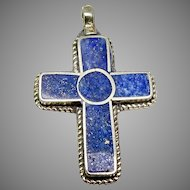 Vintage Silver and Lapis Cross