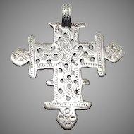 Vintage Ethiopian African Silver Coptic Cross Pendant