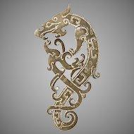 Vintage Hand Carved Chinese nephrite Jade Dragon/Phoenix Amulet Pendant